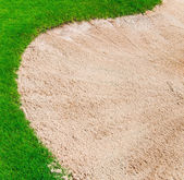 Sand bunker on the golf course — Stok fotoğraf