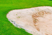 Sand bunker on the golf course — 图库照片