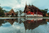Wat Phra Sing Water reflection — Stockfoto