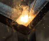Welding with sparks — Stock Photo