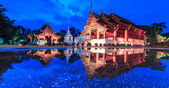 Temple in water reflection — Foto Stock