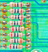 Resistor electronic components mounted on a motherboard — Stock Photo