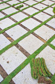 Brick with manicured lawn — Stock Photo