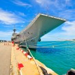 Stock Photo: Aircraft carrier and battleship