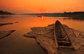 Silhouettes view in Mekong river — Stock Photo