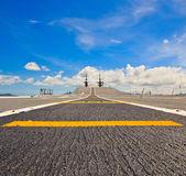 Runway at takeoff on battleship — Stock Photo