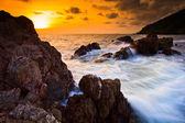 Sunset sea waves — Stock Photo