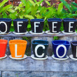 Welcome to coffee — Stock Photo