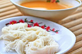 Vermicelli mixed with a fish soup — Stock Photo