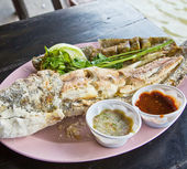 Prepared salted grill snakehead fish — Stock Photo
