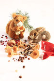 Squirrel and a rabbit with gifts from Santa Claus — Stockfoto