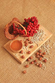 Viburnum berries on a wooden board with nuts and seeds — Stock Photo