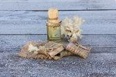 şişe ile kabukları ve hoarfrost olan bir ağaç üzerinde mercan ile kozmetik yağı — Stok fotoğraf