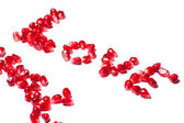 Word of love from the seeds of a pomegranate — Stock Photo