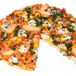 Chicken pizza on a white background — Photo