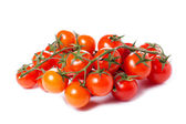 Juicy organic Cherry tomatoes isolated over white background — Stock Photo