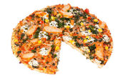 Chicken pizza on a white background — Stock Photo
