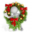 3d man with Christmas wreath — Stock Photo #10379059