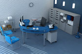 Blue office space — Stock Photo