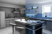 Blue kitchen — Stock Photo