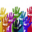 Multicolored art from Hand prints — Stock Photo #27535983