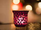 Candle light on the table with night view — Stockfoto