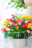 Bucket flowers — Stock Photo