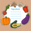 Cartoon fresh vegetables card. Lovely vertical composition on wooden background with space for your text, surrounded by colorful food icons. Cute grunge frame with vegetables, isolated. — Vettoriale Stock  #26437713