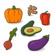 A large set of fresh vegetables. Colorful cartoon. Easily editable vector. Various vegetables on the white background. Isolated vector. — Stock Vector