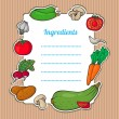 Cartoon fresh vegetables card. Lovely vertical composition on wooden background with space for your text, surrounded by colorful food icons. Cute grunge frame with vegetables, isolated. — ストックベクタ #26437719