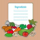 Cartoon fresh vegetables card. Lovely vertical composition on wooden background with space for your text, surrounded by colorful food icons. Cute grunge frame with vegetables, isolated. — Stock Vector