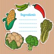 Cartoon fresh vegetables card. Lovely vertical composition on wooden background with space for your text, surrounded by colorful food icons. — Stok Vektör #26479877