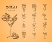 A large set of fresh cocktails. — Stock Vector