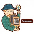 Stok Vektör: Photographer. Vintage profession, cartoon style. Child illustration.