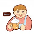 Stock Vector: Brewer. Vintage profession, cartoon style. Child illustration.