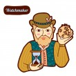Stock vektor: Watchmaster. Vintage profession, cartoon style. Child illustration.