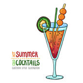Cartoon style illustration of fresh cocktail. Hot summer - cold cocktails. — Stock Vector