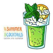 Cartoon style illustration of fresh cocktail. Hot summer - cold cocktails. — Vecteur