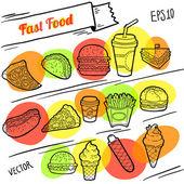 Fast-food-linie-abbildung. dynamisches design. satz von hand gezeichneten symbole. freigestellte objekte. — Stockvektor