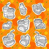 Ilustracja linia fast food. dynamiczny design. zestaw ikon wyciągnąć rękę. na białym tle obiektów. — Wektor stockowy