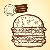 Detailed illustration of fast food in vintage style. Hand drawn. Isolated object on yellow background. Retro label. — ストックベクタ