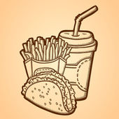 Detailed illustration of fast food in vintage style. Hand drawn. Isolated object on yellow background. — Stock Vector