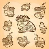 一大套的快餐食品。可方便地编辑矢量。隔离的对象。手绘图。复古的标签. — 图库矢量图片