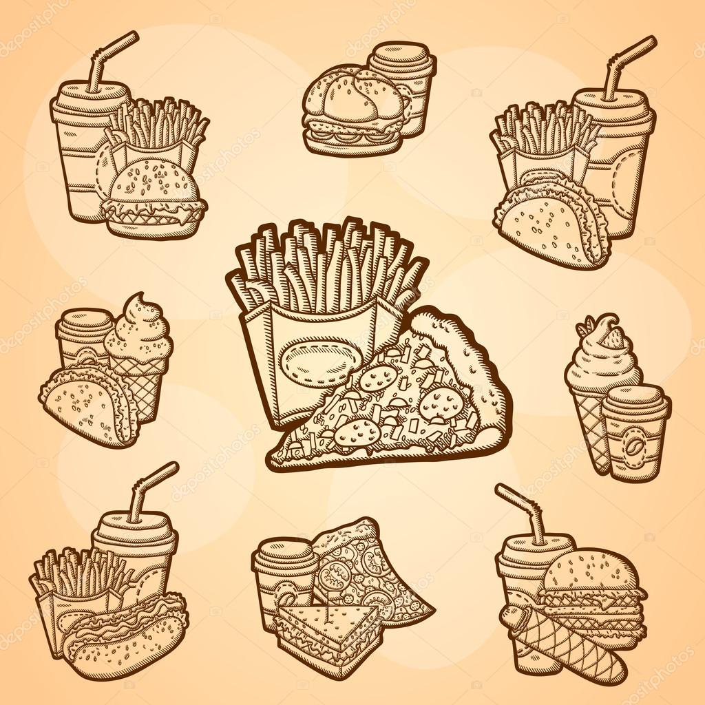 a large set of fast food easily editable vector isolated objects hand drawing vintage label. Black Bedroom Furniture Sets. Home Design Ideas