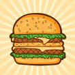 Big burger. Fast food in cartoon style. Isolated object, easy to edit. — Stock Vector