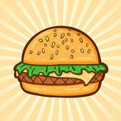 Hamburger. Fast food in cartoon style. Isolated object, easy to edit. — Stock Vector