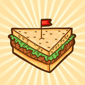 Sandwich. Fast food in cartoon style. Isolated object, easy to edit. — Stock Vector