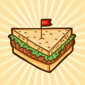 Kanapka. fast foody w stylu cartoon. na białym tle obiekt, łatwe do edycji. — Wektor stockowy