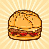 Cheeseburger. Fast food in cartoon style. Isolated object, easy to edit. — Stock Vector