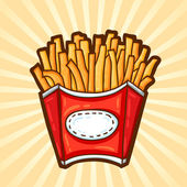 French fries. Fast food in cartoon style. Isolated object, easy to edit. — Stock Vector